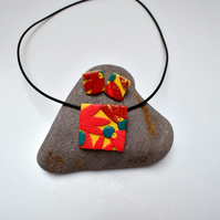 Australiana Yellow, Coral & Brown Square Polymer Clay Pendant & Earring Set