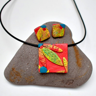 Australiana Coral Pink & Yellow-Green Square Polymer Clay Pendant & Earring Set