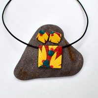 Australiana Nut Brown & Yellow Square Polymer Clay Pendant & Earring Set