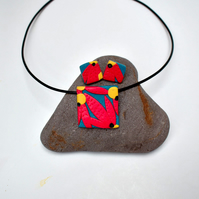 Australiana Teal & Coral Pink Square Polymer Clay Pendant & Earring Set