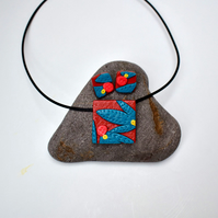Australiana Nut Brown & Teal Square Polymer Clay Pendant & Earring Set
