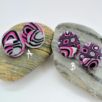 Silver Glitter, Hot Pink & Black, Oval Shaped, Polymer Clay Earrings