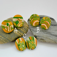 Golden Acorn Gold, Green, Olive & Cream Oval Shaped, Polymer Clay Earrings