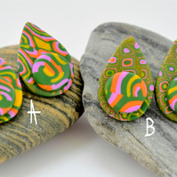Glitter Gold, Lavender, Orange & Green, Petal Shaped, Polymer Clay Earrings