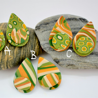 Golden Acorn Gold, Green, Olive & Cream, Petal Shaped  Polymer Clay Earrings