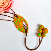 Jonquil Yellow, Orange, Green & Gold Polymer Clay Reversible Lariat Necklace