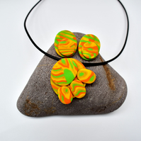 Jonquil Yellow, Orange, Green & Gold Polymer Clay Oval Pendant & Earring Set