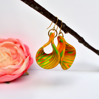 Jonquil Yellow, Orange, Green & Gold Polymer Clay Open Loop Drop Earrings