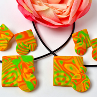 Jonquil Yellow, Orange, Green & Gold Square Polymer Clay Pendant & Earring Set