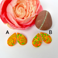 Jonquil Gold, Orange, Yellow & Green Petal Shaped Polymer Clay Earrings