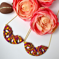For Mum Deco Style Gold, Hot Pink, Yellow & Purple Polymer Clay Pendant