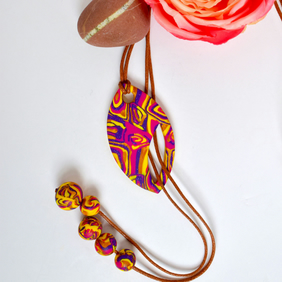 For Mum Hot Pink, Yellow, Gold & Purple Polymer Clay Reversible Lariat Necklace