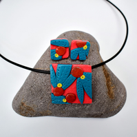 Australiana Coral Pink & Teal Square Polymer Clay Pendant & Earring Set