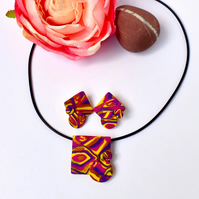 For Mum Hot Pink, Yellow, Purple & Gold Polymer Clay Pendant & Earring Set