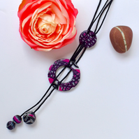 Silver Glitter, Hot Pink & Black, Handmade Polymer Clay & Cotton Lariat Necklace