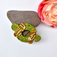 Golden Acorn Bold Brooch in Gold, Green, Olive & Cream Polymer Clay