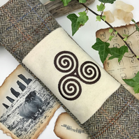 Celtic Triskelion Pagan Harris Tweed Wand Bag