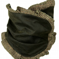 Steampunk Waxed Cowl, Neck Snood Scarf with Harris Tweed Trim in Green