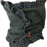 Steampunk Harris Tweed Cowl Neck Scarf Snood in Blues