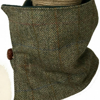 Harris Tweed Cowl Neck Snood Scarf Brown Tweed