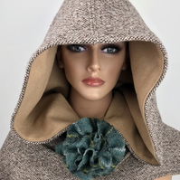 Pixie Style Oversize Hooded Scarf in Irish Donegal Tweed & Harris Tweed Broach