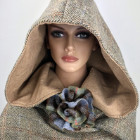 Harris Tweed Pixie Style Hooded Scarf