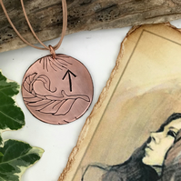 Pagan Rune Courage Cooper Pendant Necklace Curled Leaf