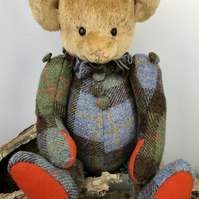 Elvenia Harris Tweed and Mohair OOAK Handmade Artist Bear Even Pixie Faerie