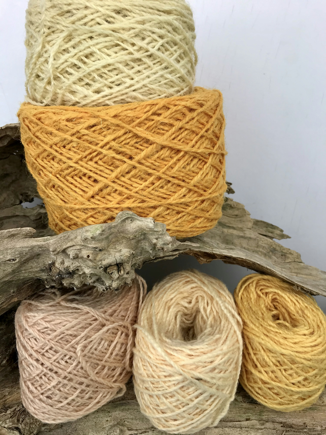 Rustic Wool Yarn Cakes 250g in Yellows