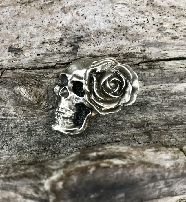 Gothic Goth Day of the Dead Skull and Single Rose 3D Fine Silver Pendant