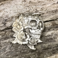 Stunning Fine Silver 3D Goth Gothic Day of the Dead Pendant Skull and Roses