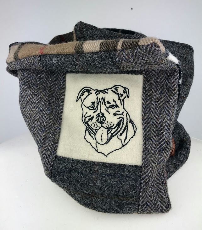 Harris Tweed Patchwork Cowl Scarf Snood Neck Warmer for Staffie Dog Lovers