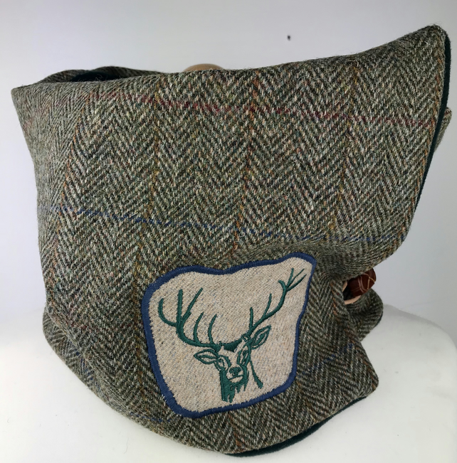 Harris Tweed Cowl Scarf Cosy Neck Warmer Stag