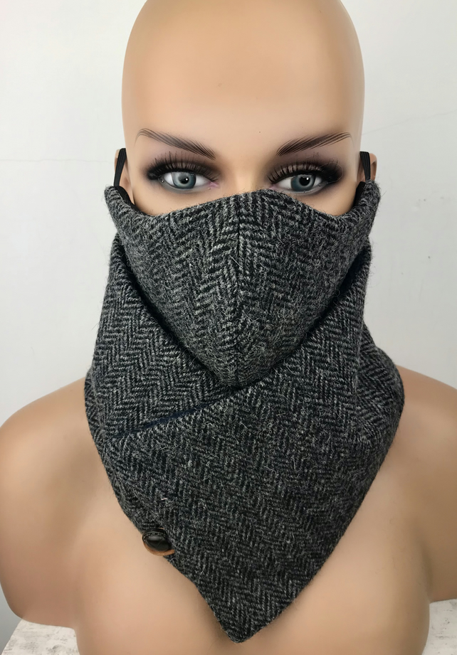 Harris Tweed Cowl Scarf Neck Warmer Face Mask Set Dark Herringbone