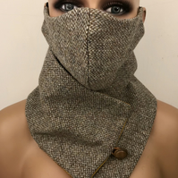 Harris Tweed Cowl Scarf Neck Warmer and Face Mask Set Light Brown Barley Twist