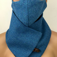 Harris Tweed Cowl Scarf Neck Warner and Face Mask Set Blue Herringbone
