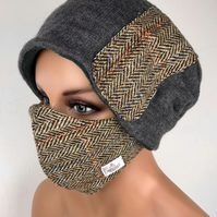 Harris Tweed Face Mask Cover and Matching Slouch Beanie Hat