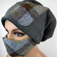Harris Tweed Face Mask and Matching Trendy Urban Slouch Beanie Hat in Brown Blue
