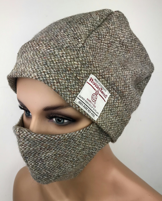 Harris Tweed Slouch Beanie Hat and Matching Face Mask Cover in Barley Twist