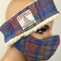 Harris Tweed Head Band Ear Warmers and Matching Face Mask Blues, Purple, Pink