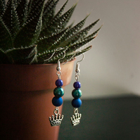Blue beads with crown charm silver-plated earrings