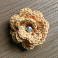 Small  Sunshine Orange Crochet Flower Brooch (free shipping)