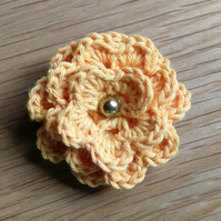 Small Crochet Cotton Flower Brooch (free shipping)