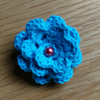 Small Bright Blue Crochet Cotton Flower Brooch ( free shipping)