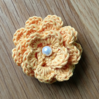 Small Crochet Cotton Flower Brooch