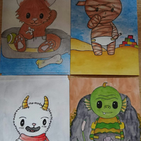Baby Monster Art Prints Set
