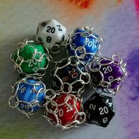 D20 Dice Chainmail Caged Necklace, Solid colour