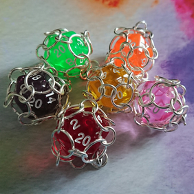 D20 Dice Chainmail Caged Necklace, Translucent