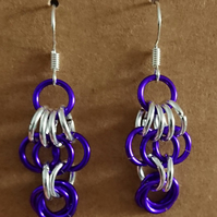Chainmail dangle earrings, mobius ball