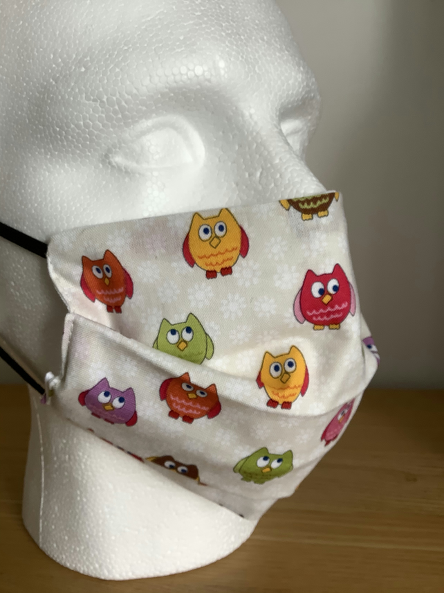 Cream with Owls pattern Cotton Face mask, Reusable face mask, Free P&P